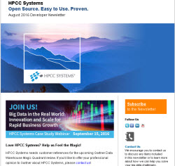 HPCC Systems August 2016 Developer Newsletter