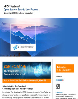 HPCC Systems November 2016 Developer Newsletter