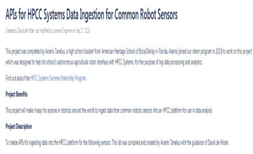 2018 Internship Project: APIs For HPCC Systems Data Ingestion for Common Robot Sensors