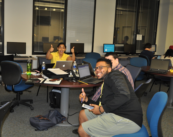 Hackathon students having fun