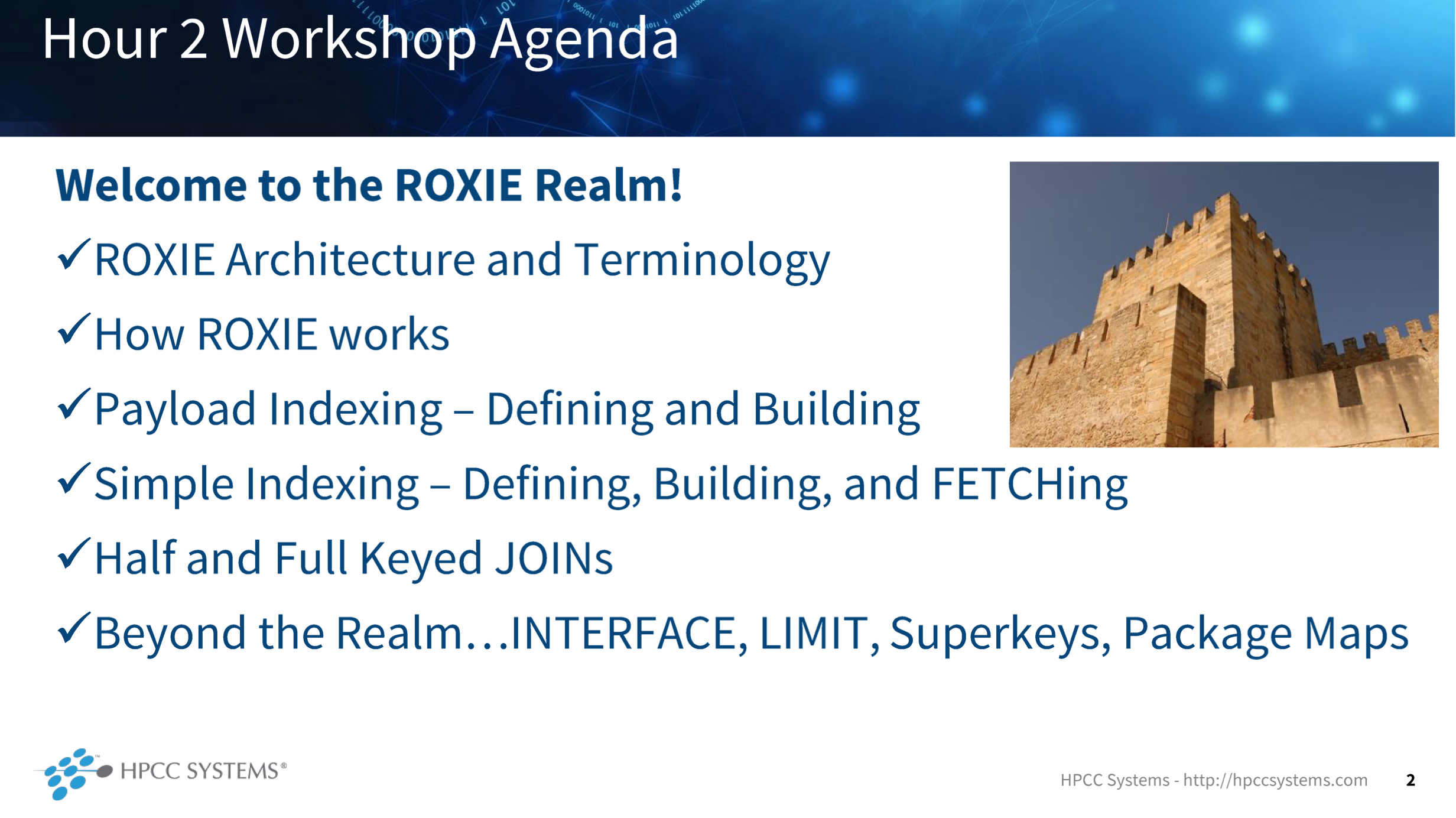 Image showing the course content for The ROXIE Realm